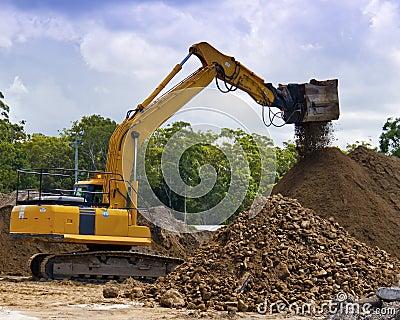 Excavating Machine screening soil