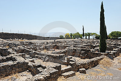 Excavations of the ancient city of Capernaum