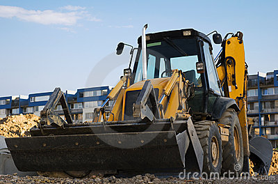 Excavator with a backhoe