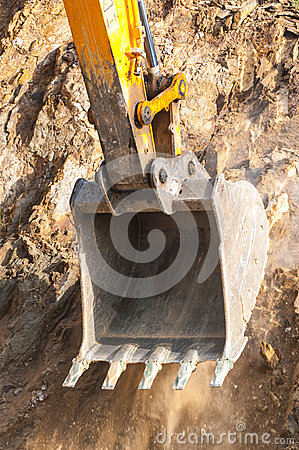 Excavator bucket closeup