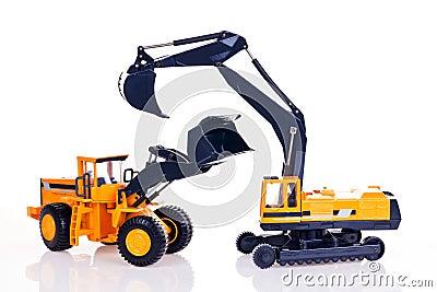 Excavator and bulldozer
