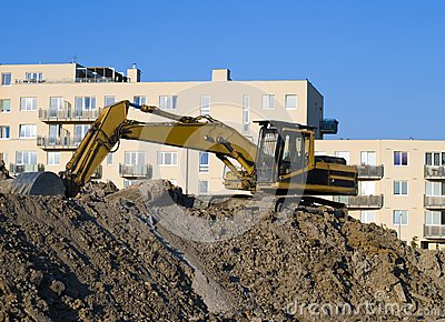 Excavator on the construct area