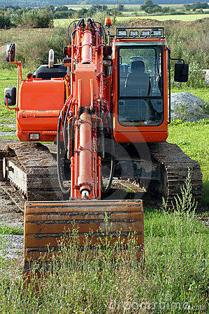 Excavator in countryside