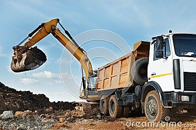 Excavator and dumper at loading