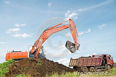 Excavator and dumper truck