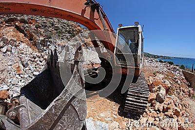 Excavator,fisheye
