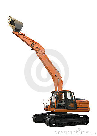Excavator isolated on white background with clipping paths