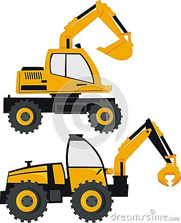 Excavator and loader