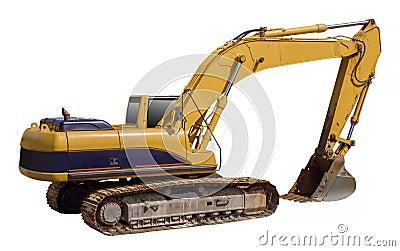 Excavator loader machine, isolated
