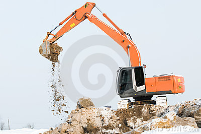 Excavator loader at winter works