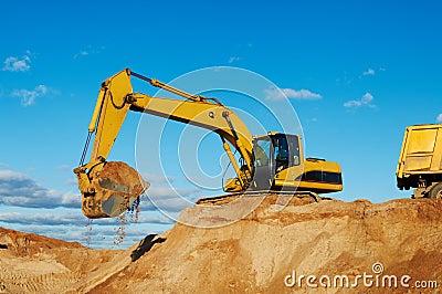 Excavator loading tipper dumper