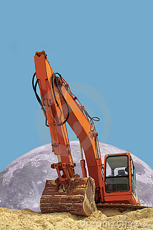 Excavator & moon. Concept of power.