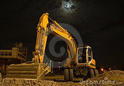Excavator by night