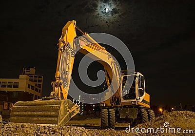 Excavator by night