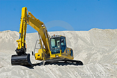 Excavator in sand