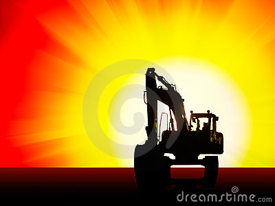 Excavator silhouette background