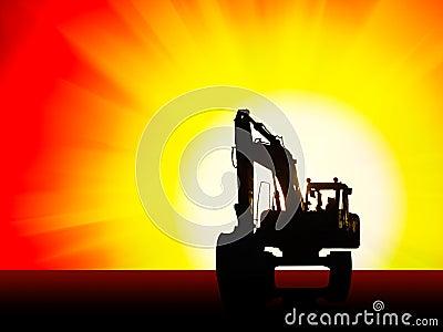 Excavator silhouette background