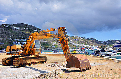 Excavator working on the construction Marine dock