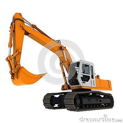 Excavator yellow 3d