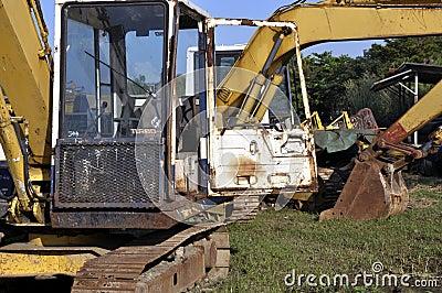 Used excavators, heavy scrap