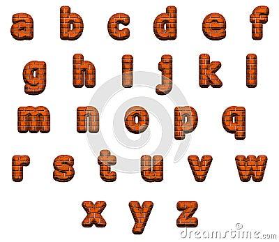 Excellent bricks alphabet, isolated on white