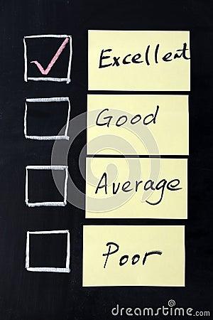 Excellent, good, average or poor