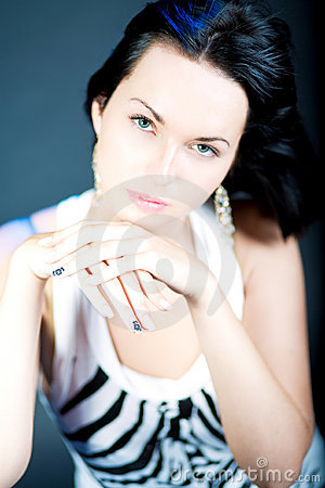 Excellent manicure of young caucasian girl