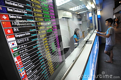 Exchange Rates Board Editorial Image