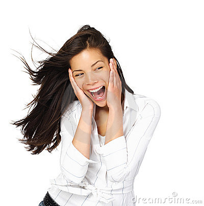 Excited женщина