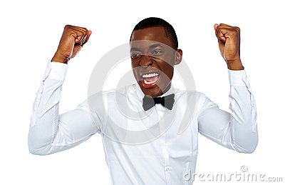 Excited african man enjoying his success