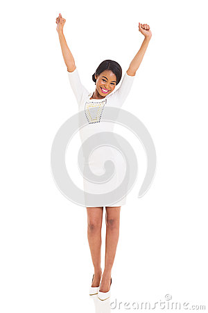 Excited african woman