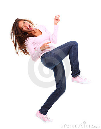 Free Excited Air Guitar Woman Stock Photos - 12322263
