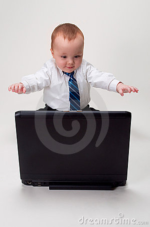Excited baby businessman