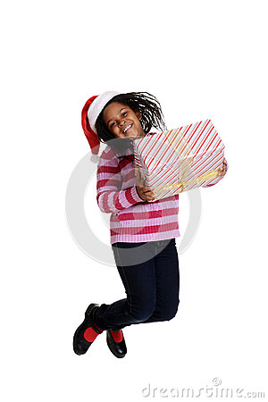 Excited  black girl at christmas
