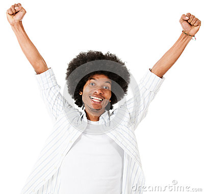 Excited black man