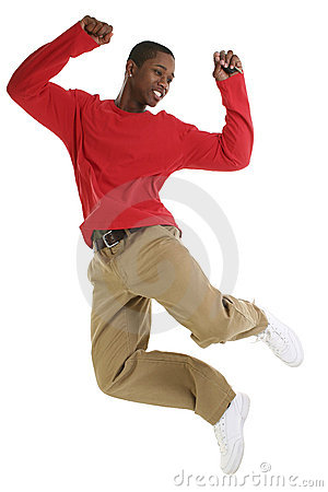 Excited Black Man Jumping For Joy with Car Keys