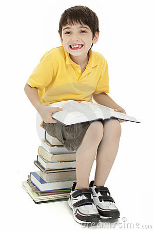 Excited Boy Child with Books