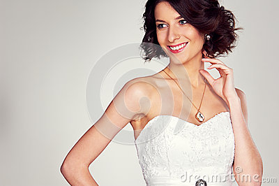 Excited bride in white dress