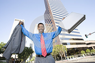Excited Business Man With Arms Raised