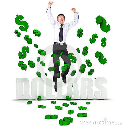 Excited business man in a dollar s rain