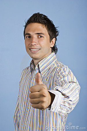 Excited business man give thumb up