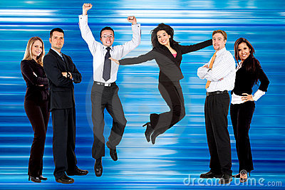 Excited business people