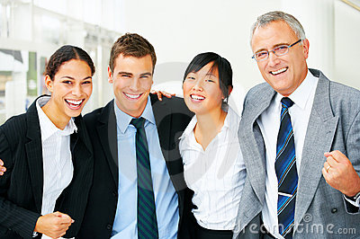 Excited business team