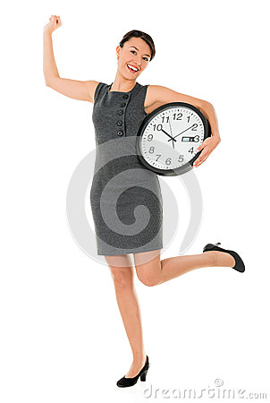Excited business woman with a clock