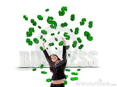 Excited business woman in a dollar s rain