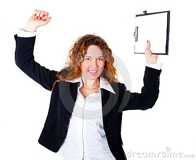 Excited business woman enjoys a successful deal