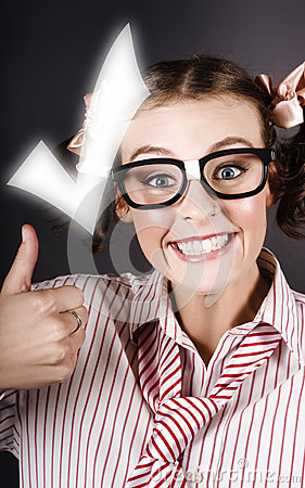 Excited Business Woman With Huge Tick And Thumb Up