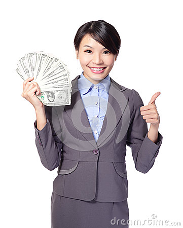 Excited business woman with money
