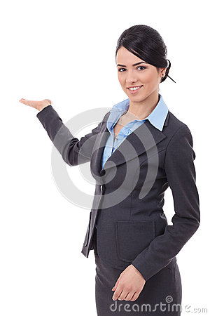Excited business  woman presenting