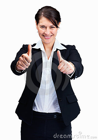 Excited business woman wishing you good luck